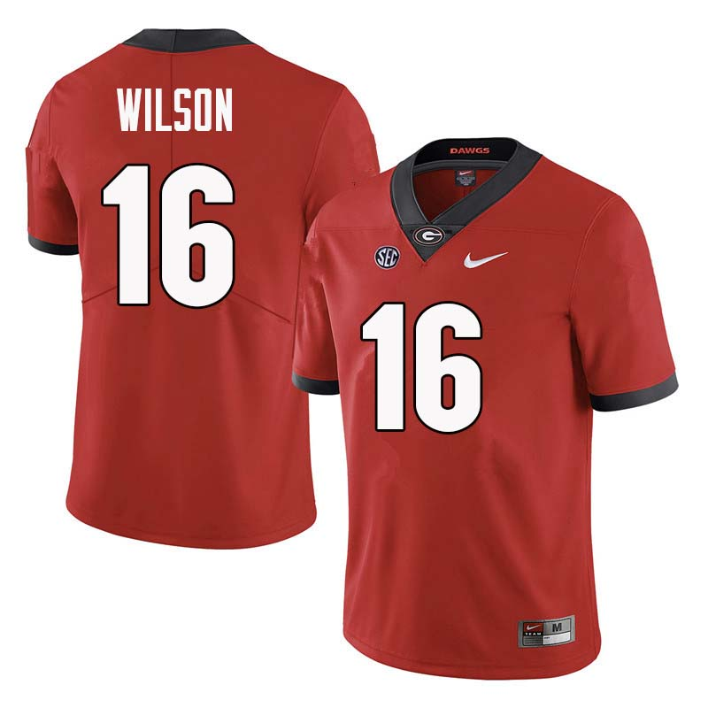Men Georgia Bulldogs #16 Divaad Wilson College Football Jerseys Sale-Red